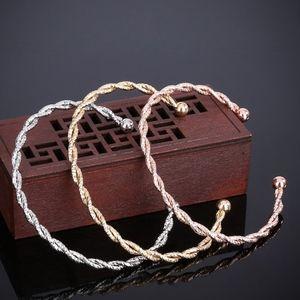 Rose Gold Spiral Twisted Open Bangle Cuff Bracelet